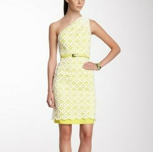 Vince Camuto Asymmetrical Shoulder Lace Dress